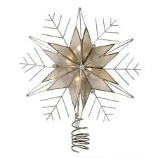 lighted capiz star tree topper 10 5 lighted capiz star with silver snow flake christmas tree