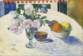 bowl of fruits file paul gauguin flowers and a bowl of fruit on a table