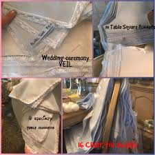 handmade wedding square table runners and chair swags or ties