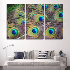aliexpress com buy peacock feather wall art 3 panel decor canvas aliexpress com buy peacock feather wall art 3 panel decor canvas print large modern painting set bedroom decor home living decorations no frame from