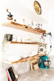 kitchen floating live edge shelves