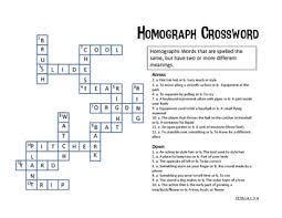 homograph crossword and list by mark wakita teachers pay teachers