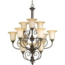 Chandelier Floor Stand by Progress Lighting Kensington Collection 12 Light Forged Bronze