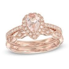 morganite bridal set precious pear shaped morganite and 1 4 ct t w diamond