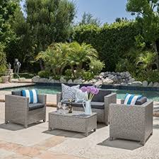 Amazoncom  Venice Outdoor Wicker Patio Furniture  Piece Grey - Outdoor furniture set