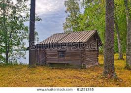 wooden log cabin abandoned wooden log cabin on forest stock photo 61251385
