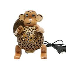 wood monkey coconut shell table lamp