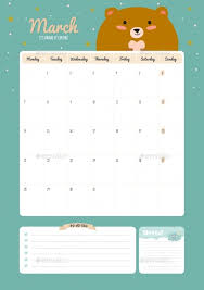 cute calendar diary template for 2016 with animals by