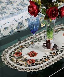 polyester embroidery table runner embroidered floral