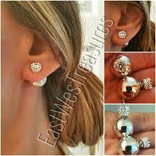 back stud earrings ewt pearl front back pearl back silver cz ear stud