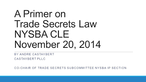 a primer on trade secrets law nysba cle november 20 ppt download