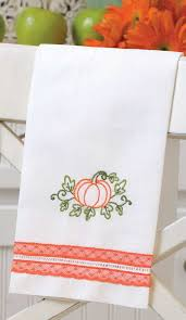 Kitchen Towel Embroidery Designs Hand Embroidery Project Pumpkin Tea Towel Martha Pullen