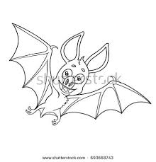 cute halloween bat outlined coloring page stock vector 693668743