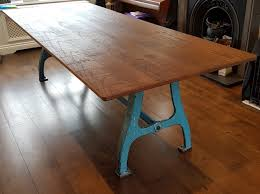 oak wood table legs industrial based dining tables from recycled steel and iron with oak