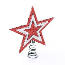 small sparkling red and silver star tree topper christmas trees