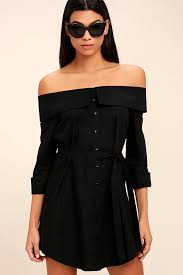 chic black dress off the shoulder dress long sleeve dress