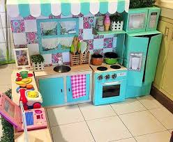 homemade play kitchen ideas mom s homemade cardboard kitchen puts every other diy project to shame
