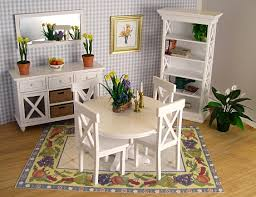 Dollhouse Dining Room Furniture Miniature White Dining Room Dollhouse Furniture And Accessories