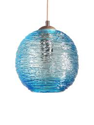 spun glass globe pendant light in aqua by zhukov