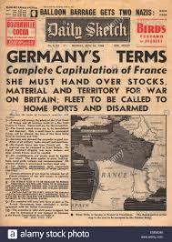 1940 daily sketch front page reporting france surrenders stock
