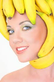 banana for hair woman with banana hair style stock photo image of