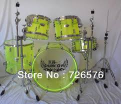 Drum Set Lights Quality 5 Pc Acrylic Drum Set With Stands Clear Red Blue