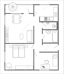 architecture plan with furniture in top view of 3 rooms apartment