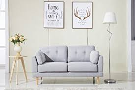 amazon com mid century modern ultra plush linen fabric sofa
