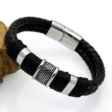 man black leather bracelet images Best men 39 s black leather bracelet in pakistan knocknshop pk jpg