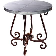 36 round bar height table french iron bar table with 36 round hammered zinc top