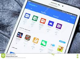 android galaxy apps store on samsung tab s2 editorial stock photo