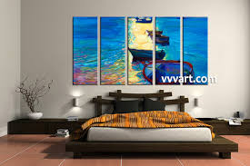 5 piece blue boat ocean huge canvas art