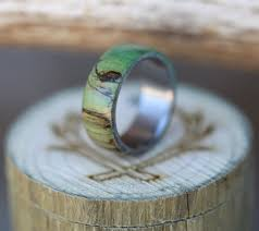 men u0027s titanium wedding band with green spalted maple wood