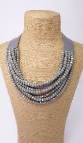 strand necklace images Grey multi strand necklace with leather fastening mctavish jpg
