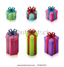 boxes with bows set gift boxes bows ribbons isometric stock vector 727804222
