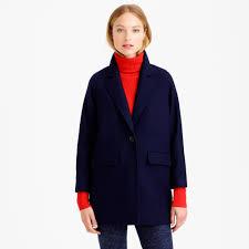 jew wool melton boyfriend coat in blue lyst