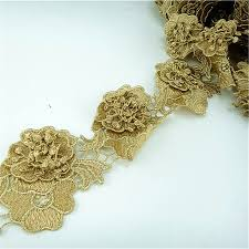 gold lace ribbon 10yard 8cm lace gold embroidered lace trim applique embroidery 3d