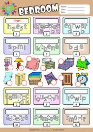 bedroom unscramble words esl vocabulary worksheet english