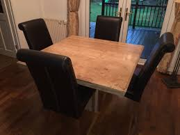 alicante stone dining table u0026 4 leather chairs from barker