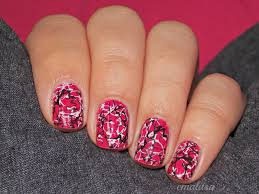 pink nails with silver grey black and white dots nail art design
