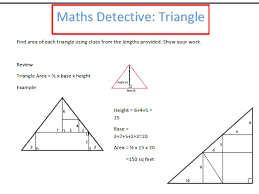 maths detective area of triangles worksheet by gazza1973