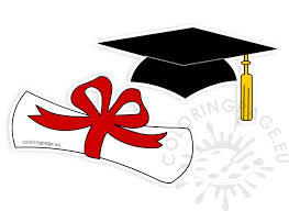 graduation diploma graduation hat rolled diploma clipart coloring page