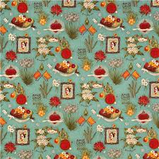 turquoise blue viva frida fabric by henry mexico flower
