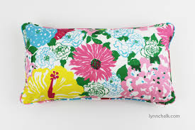 Lilly Pulitzer Furniture by Lilly Pulitzer Heritage Floral In Multi Lumbar Pillow With Welting