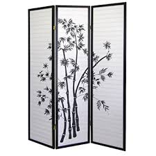 amazon com ore international 3 panel room divider bamboo