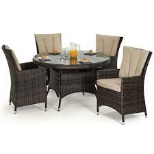 Outdoor Rattan Garden Furniture by Maze Rattan La 4 Seat Round Rattan Garden Furniture Set Rattan