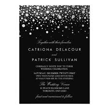 black and white wedding invitations faux silver foil confetti black and white wedding card zazzle