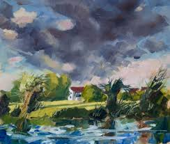 pochade oil sketch of evening clouds by the river cambridge
