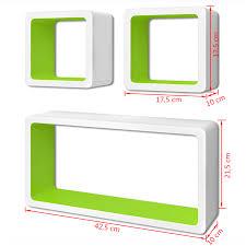 vidaxl co uk 3 white green mdf floating wall display shelf cubes