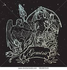 gemini zodiac sign decorative frame roses stock vector 561663145